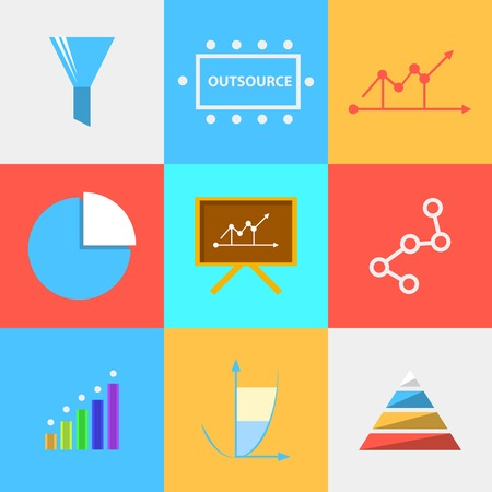Set of vector colored square flat icons with symbols of process of outsourced  Vector
