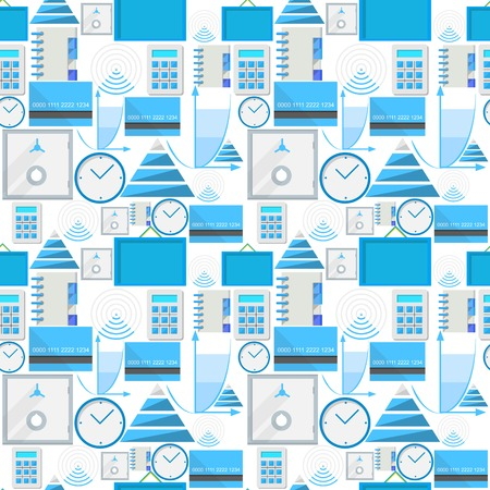 Seamless vector pattern with blue outsource symbols on white background  Vector