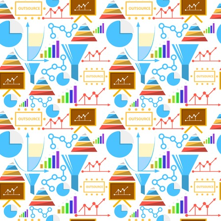 Seamless vector pattern with colored outsource symbols on white background  Vector
