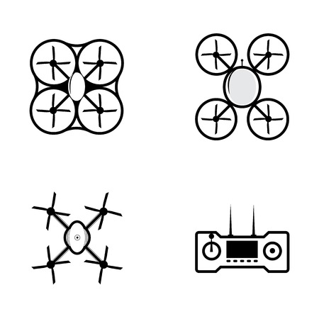 drone: Four black outline vector icons for quadrocopter on gray background