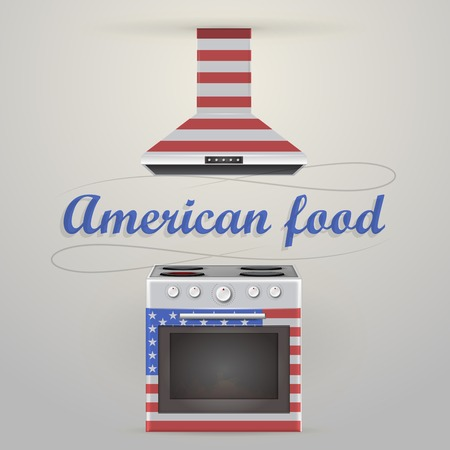 4 door: Gray stove with four burners and american oven  Isolated vector illustrations  Illustration