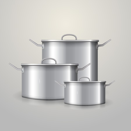 handles: Three aluminum saucepans with flat lids and two handles  Isolated vector illustration on gray