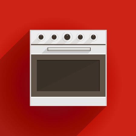 White oven with gray door   Vector