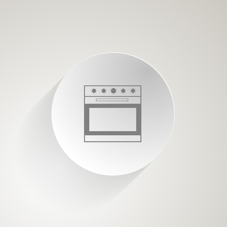 Circle gray icon with outline oven with circle switch  Vector