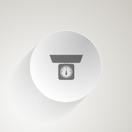gram: Circle gray flat vector icon for mechanical kitchen Scale on gray background