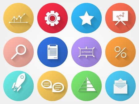 outsource: Set of colored circle vector icons with outsource symbols