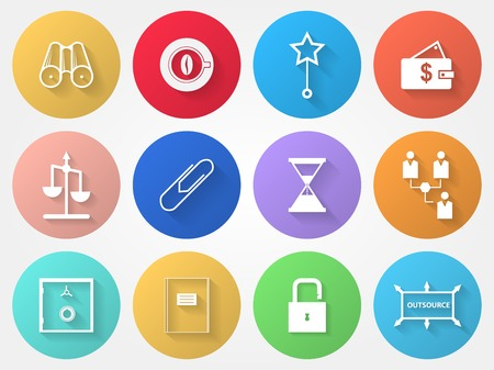 Set of colored circle vector icons with outsource symbols