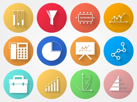 Set of colored circle vector icons with outsource symbols  Vector