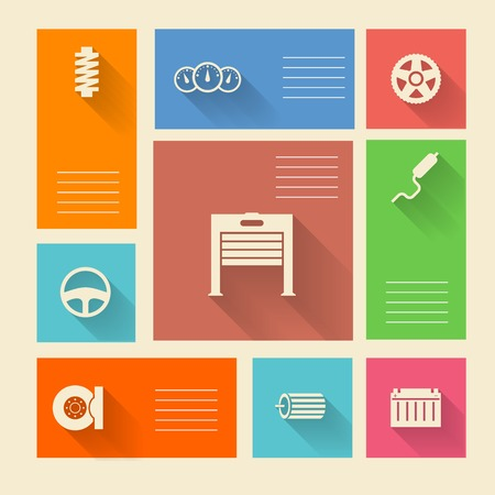 Square colored vector icons with white silhouette symbols for auto repair and place for your text  Vector