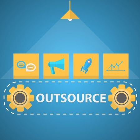 Flat vector illustration with yellow icons with symbols of outsource mechanism on blue