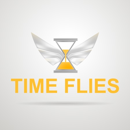 Concept of time spending  Hourglass with yellow sand and silver wings  Isolated vector illustration on gray  Illustration