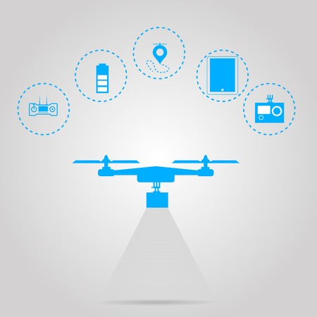 camera surveillance: Flat vector illustration with circle blue icons for monitoring with quadrocopter on gray background