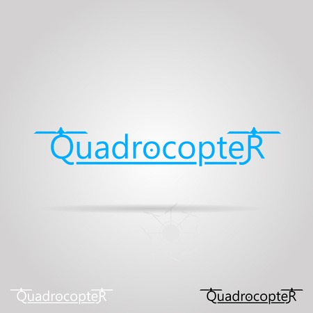 drone: Blue word Quadrocopter with two propellers  Isolated vector illustration on gray background  Illustration