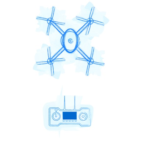 Blue outline quadracopter with remote control on watercolor stains  Isolated vector illustrations on white  Vector