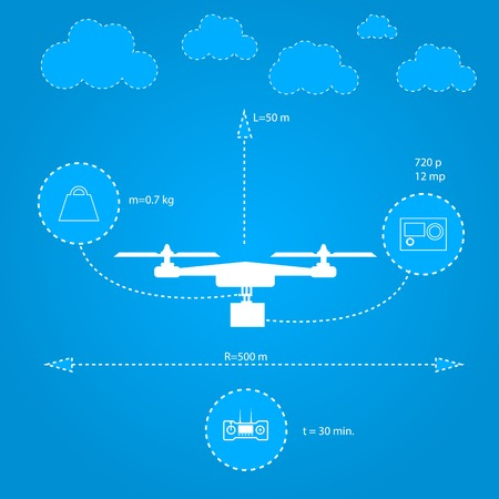 characteristics: Inforaphic with white silhouette quadrocopter and technical characteristics  Flat vector illustration on blue background