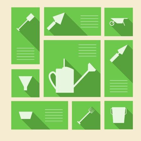 labranza: Cuadrados iconos vectoriales verdes con s�mbolos siluetas blancas de las herramientas de jardiner�a y lugar para su texto Vectores