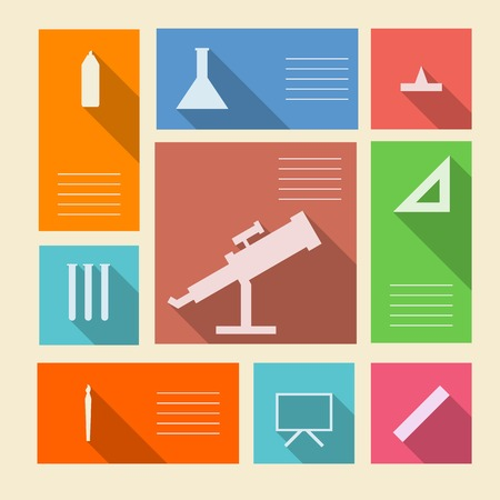 chancellery: Square colored vector icons with white silhouette symbols for school supplies and place for your text