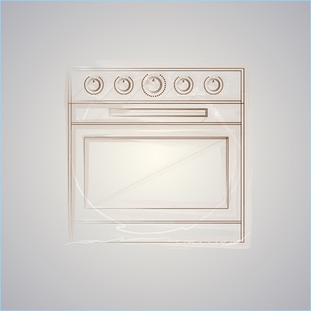 Drawing of brown sketch oven  Isolated vector illustration on gray background  Vector