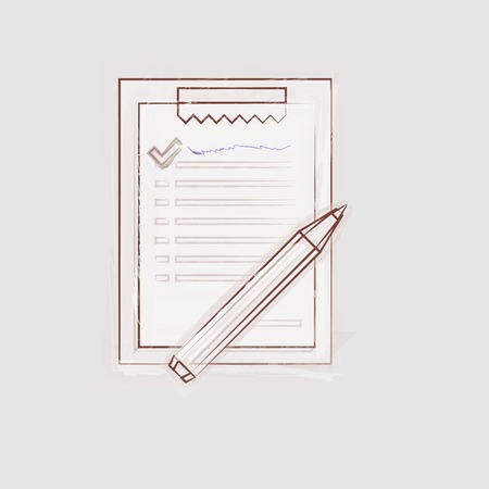 Drawing of brown sketch clipboard for outsource  Isolated vector illustration on gray background  Vector