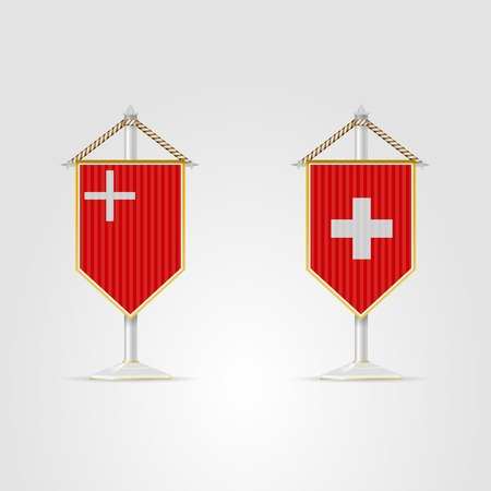 pennon: Pennon with the flag of Switzerland and of Schwyz canton  Two isolated vector illustrations on white  Illustration