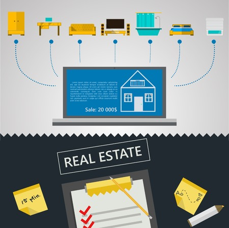 Flat vector illustration of set of elements for a proposal for the sale of real estate on gray and black background  Vector
