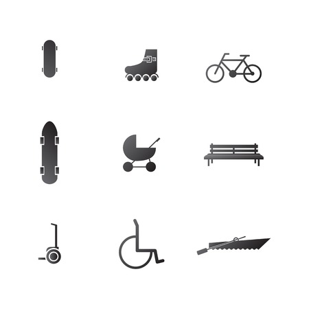 Active leisure in the park with some bike, longboard and segway and others. Set of black silhouette vector icons on white background. Vector