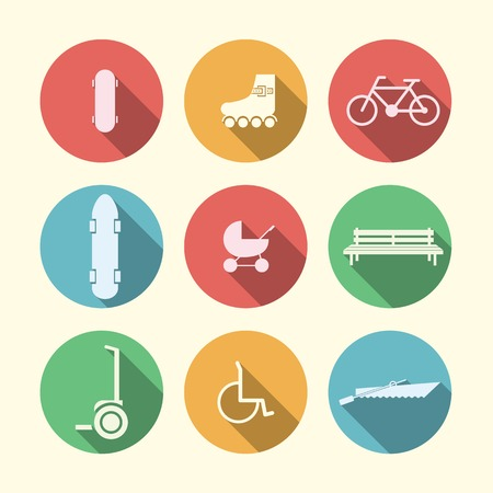 Active leisure in the park with some bike, longboard and segway and others  Set of circle vector colored icons on white background  Vector