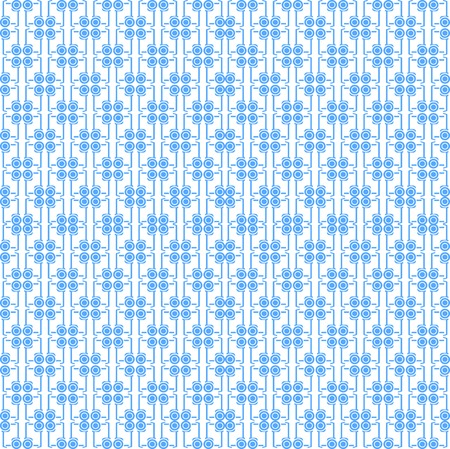 Seamless vector pattern with blue contour signs for segway on white background