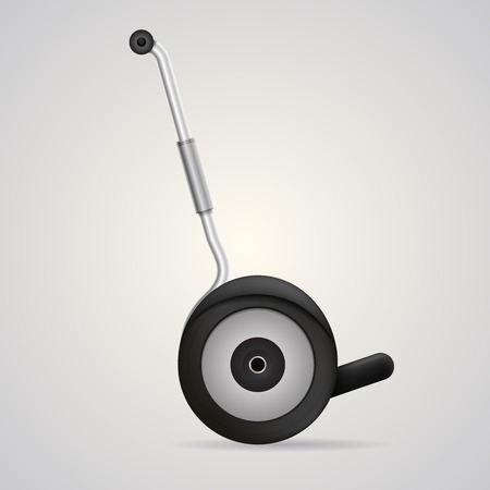 Gray steel segway in move, a side view  Isolated vector illustration on gray background  Çizim