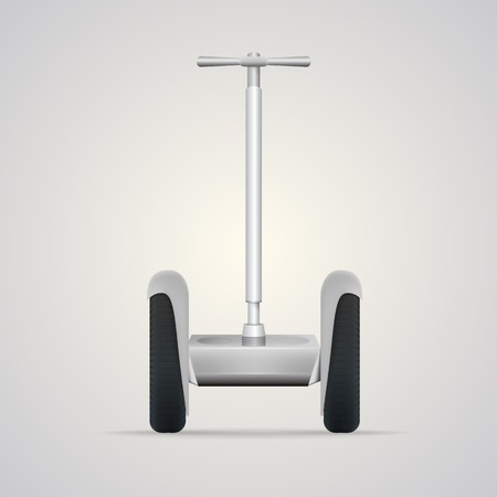 Gray steel segway with black wheels, a front view  Isolated vector illustration on gray background