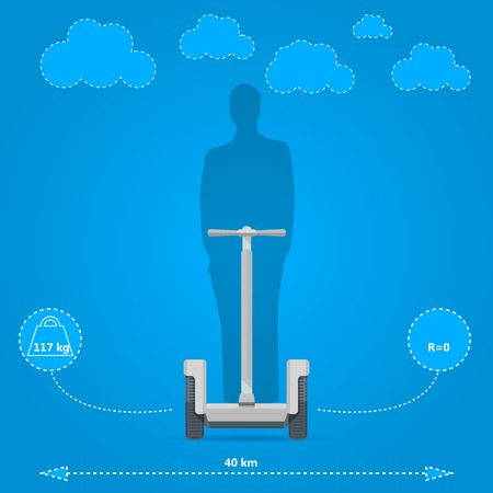 Inforaphic for the gray segway with man silhouette and technical characteristics  Flat vector illustration on blue background  Illustration