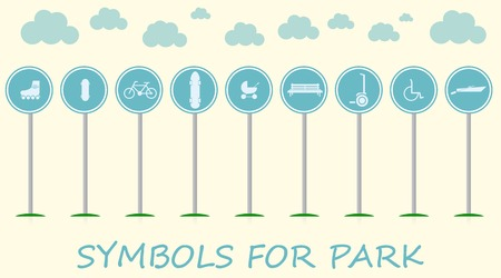 Active leisure in the park with some bike, longboard and segway and others  Set of blue vector direction signs on thematic background  Vector
