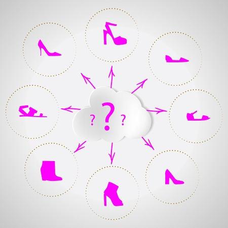 foot gear: Set of icons with pink silhouette womens shoes around the cloud with question marks  Flat vector illustration on gray background  Illustration