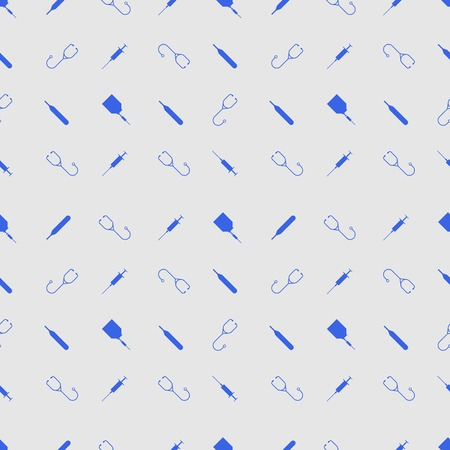 polyclinic: Seamless vector pattern with blue medical tools on gray background