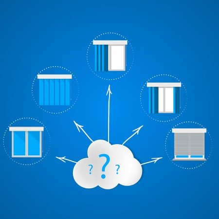 Set of icons with windows and louvers around the cloud with question marks  Flat vector illustration on blue background