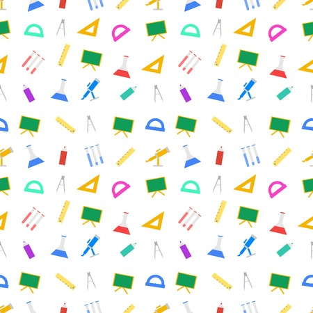 chancellery: Seamless vector pattern with colored school supplies on white background