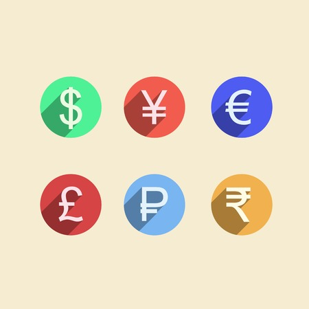 moneymaker: Set of colored circle vector icons with currency signs for moneymaker on white background