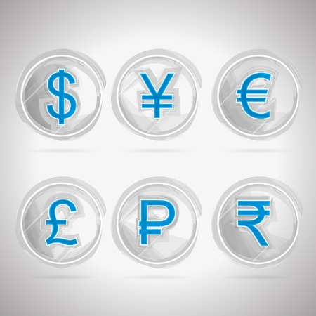 moneymaker: Set of circle sketch vector icons with blue currency signs for moneymaker on gray background  Illustration