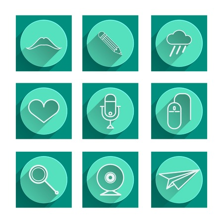 Set of green flat icons with white contour symbols Vector