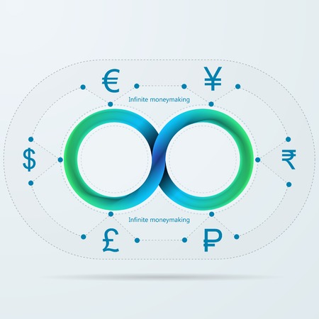mobius: Blue infinity sign with silhouette currency signs for moneymaker around infographic with Mobius ribbon  Illustration