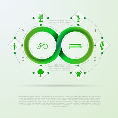 mobius: Green infinity sign with ecology silhouette signs around infographic with Mobius ribbon