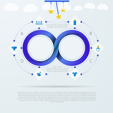 mobius: Blue infinity sign with silhouette baby things signs around infographic with Mobius ribbon