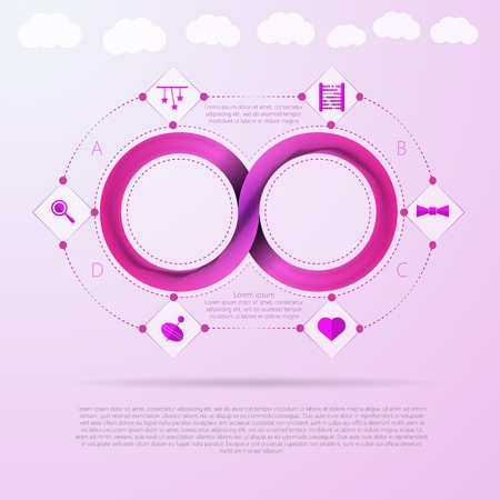 mobius: Pink infinity sign with silhouette baby things signs around infographic with Mobius ribbon