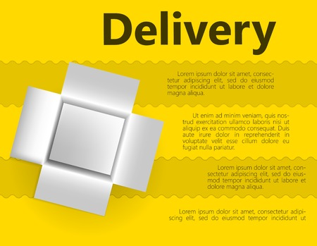 White opened box for delivery gift. Vector illustration on streaky yellow background with word Delivery and place for your text. Vector