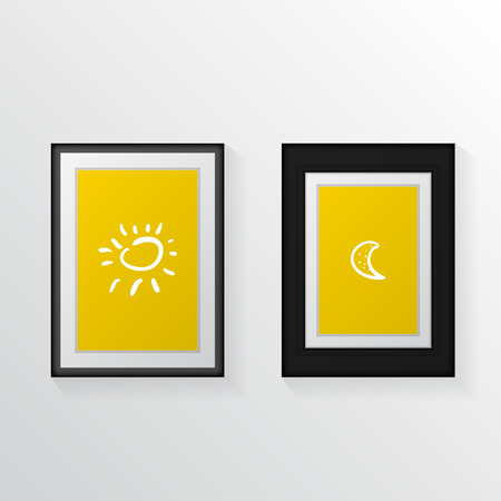 for example: Yellow poster mock up with black thin and broad frames and white contour drawings for example. Illustration