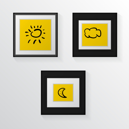 for example: Yellow poster mock up with black thin and broad frames and black contour drawings for example.