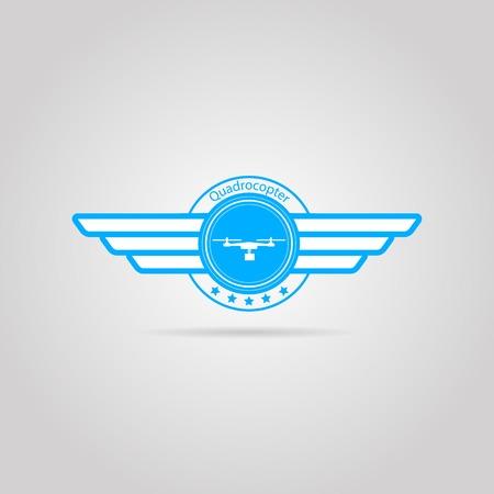 青の 2 つの翼を持つ白いシルエット quadrocopter とサークル ベクトル記号と単語の Quadrocopter。灰色の背景に隔離された図。