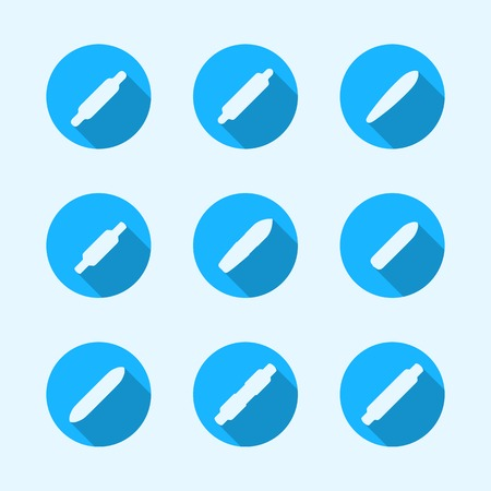skatepark: Set of flat vector circle blue icons with white silhouette longboards. Illustration