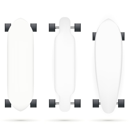 skatepark: Mock up for white longboards with black wheels. Three isolated vector illustrations on white.