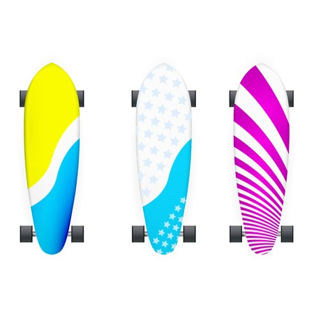 skatepark: Set of colored longboards with black wheels. Three isolated vector illustrations on white. Illustration